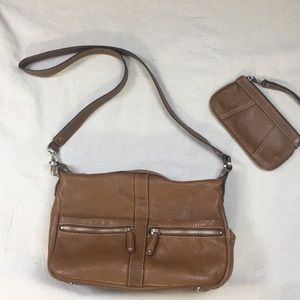 Leather crossbody with wristlet